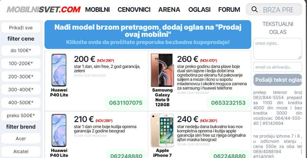 mobilni svet mali oglasi