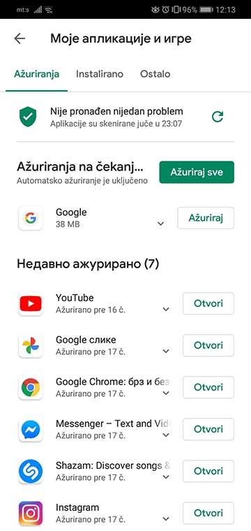 update android aplikacija