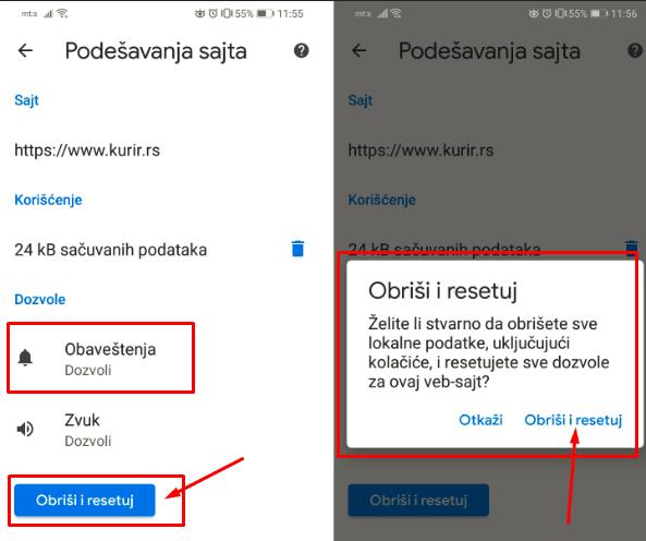 resetovanje notifikacija browser